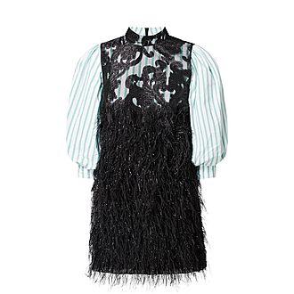 Feather Trim Baroque Mini Dress
