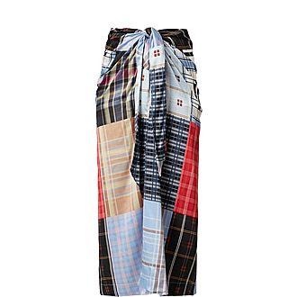 Patchwork Print Silk Midi Skirt