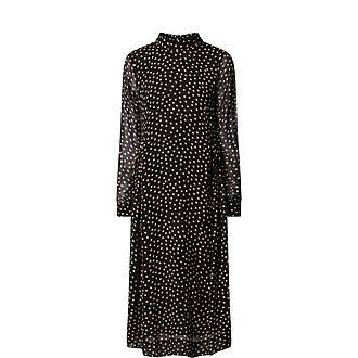 Polka Dot Crepe Midi Dress
