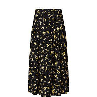 Floral Print Crepe Midi Skirt