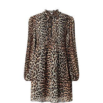 Leopard Print Crepe Mini Dress