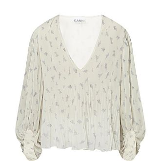 Floral Print Pleated Georgette Blouse