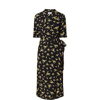 Floral Print Silk Wrap Dress