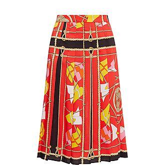 Pleated Print Skirt