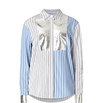 Metallic Detail Striped Shirt