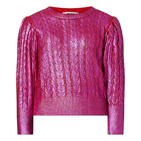 Metallic Cropped Sweater, ${color}