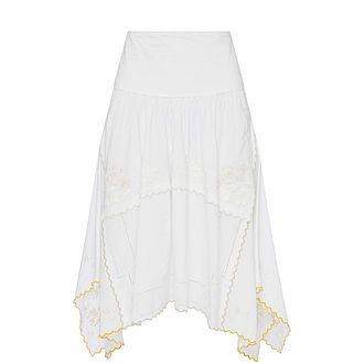Embroidered Asymmetric Skirt