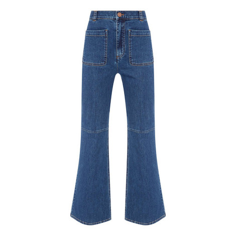 High Waist Flare Jeans, ${color}