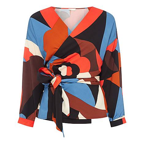 Una Frieze Print Wrap Top, ${color}
