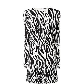 Alina Zebra Print Tiered Mini Dress