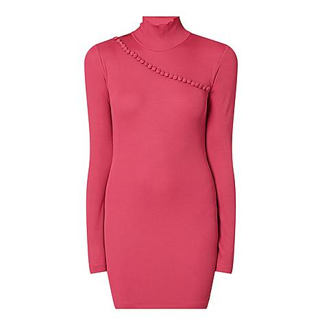 Ribbed Button Trim Mini Dress, ${color}