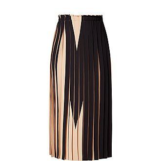 Colour-Block Pleat Skirt