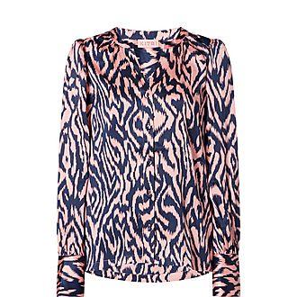 Penny Animal Print Silk Shirt
