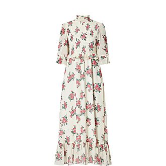 Rochelle Floral Print High Neck Maxi Dress
