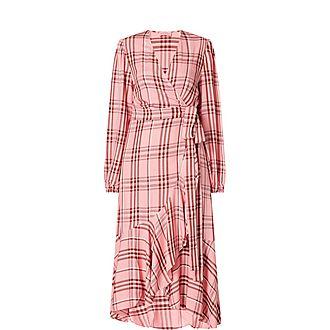 Anissa Check Print Wrap Dress