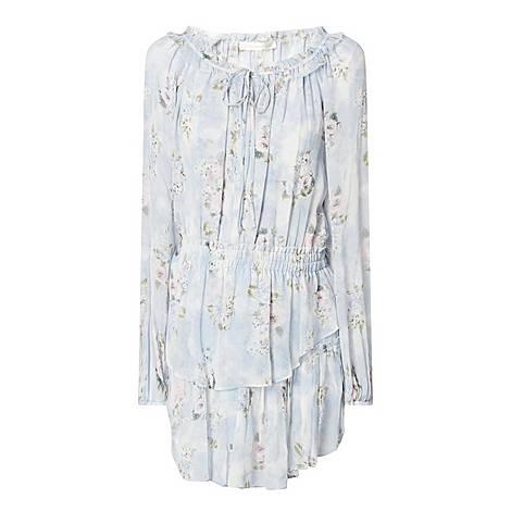 Popover Floral Silk Dress, ${color}