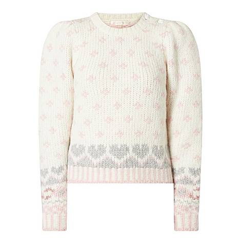 Rosie Floral Heart Alpaca Sweater, ${color}