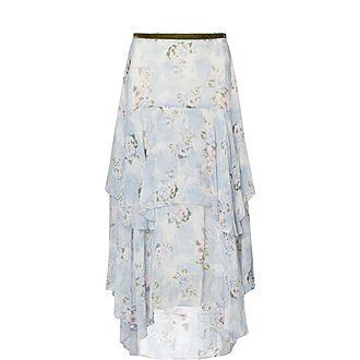 Alex Floral Silk Skirt