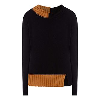 Contrast Edges Knit Sweater