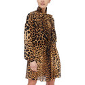Drawstring Waist Leopard Print Dress, ${color}