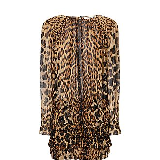 Leopard Print Tiered Skirt Mini Dress