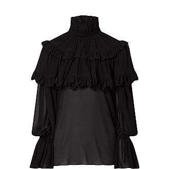 Tiered Ruffle Silk Sheer Blouse
