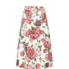 Floral Panelled Midi Skirt
