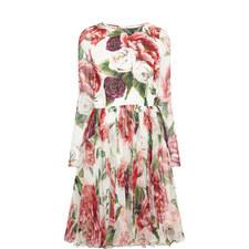 Peony Print Chiffon Dress