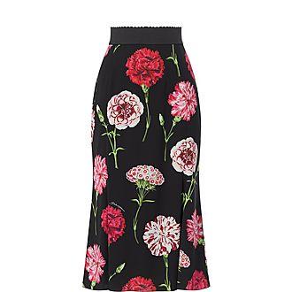 Long Carnation Print Charmeuse Skirt