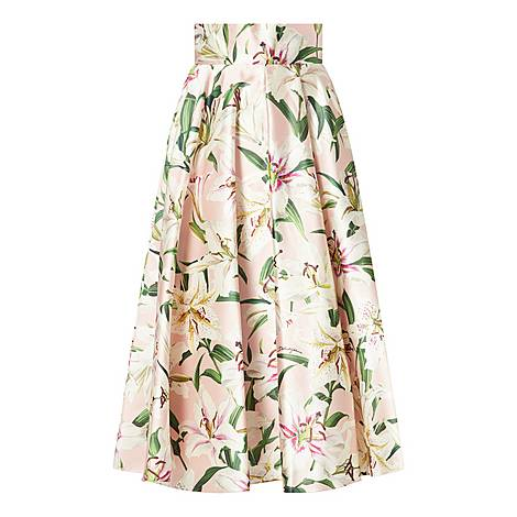 Shantung Lily Print Skirt, ${color}