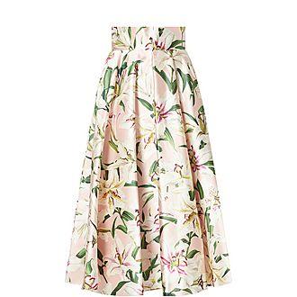 Shantung Lily Print Skirt