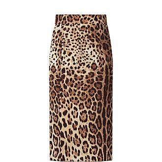 Satin Leopard Print Skirt