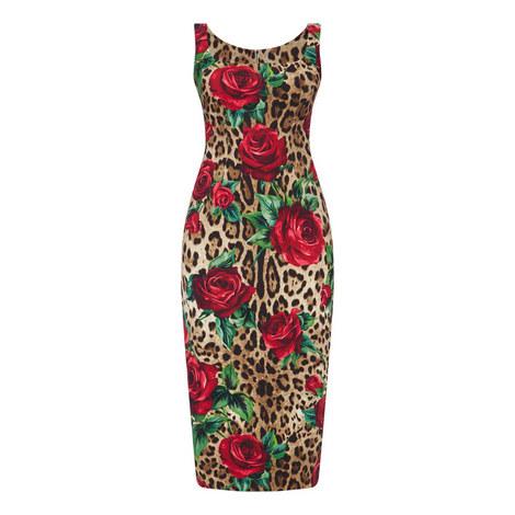 Contrast Print Midi Dress, ${color}
