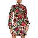 Leopard Floral Print Mini Dress, ${color}