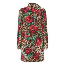 Leopard Floral Print Mini Dress