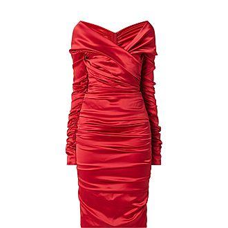 Ruched Silk Satin Dress