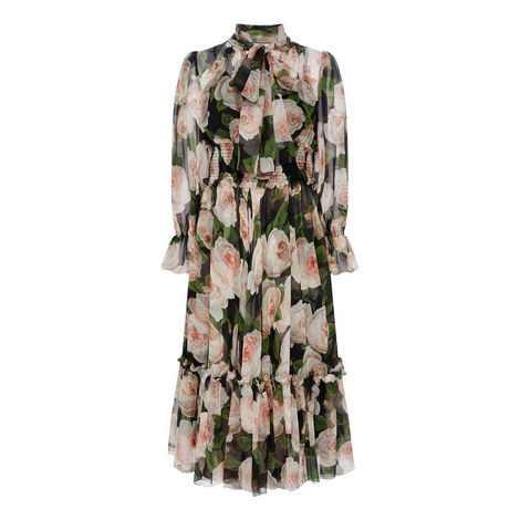 Rose Print Chiffon Dress, ${color}