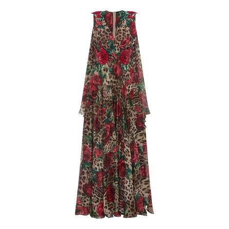 Leopard Rose Print Dress, ${color}