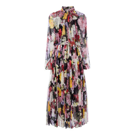 Floral Print Chiffon Dress, ${color}