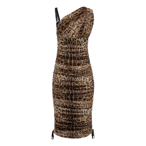 One Shoulder Leopard Dress, ${color}