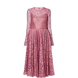 Chantilly Lame Lace Midi Dress