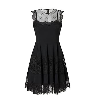 Lace Trim Flared Dress