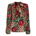 Leopard Rose Print Blouse, ${color}