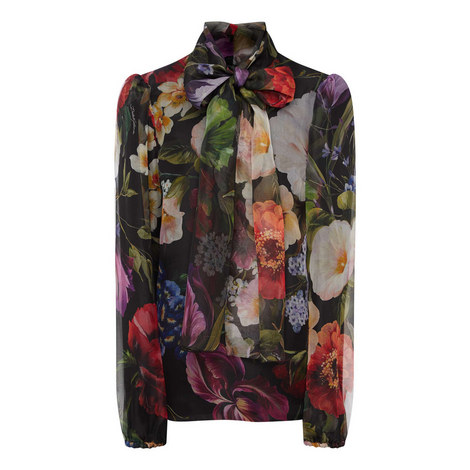 Semi Sheer Floral Blouse, ${color}