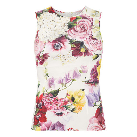 Sleeveless Floral Top, ${color}