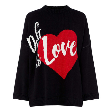 Love Heart Print Sweater, ${color}