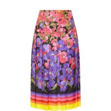 Flower Print A-Line Skirt