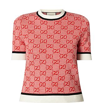 Logo Print Short Sleeve Sweater