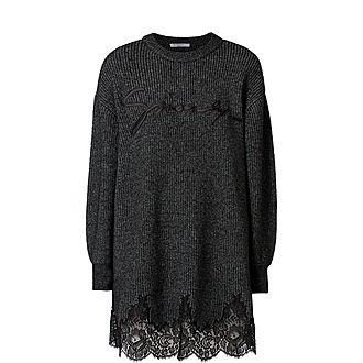 Lace Trim Logo Sweater Dress