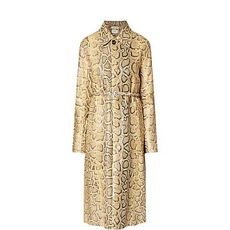 Snake Print Leather Coat